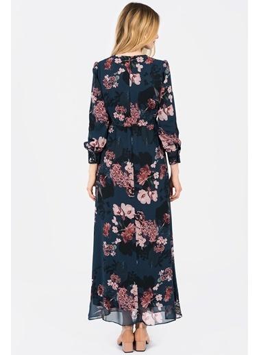 Çiçekli Uzun Elbise-İroni